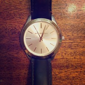 Michael Kors Gold and Silver Leather Watch
